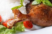 picture of roast duck  - roasted duck leg with rice and basil on lettuce on a white plate macro horizontal - JPG