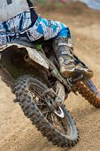 pic of motocross  - Closeup of a motocross bike in a championship