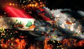 stock photo of iraq  - Iraq UN Flag War Torn Fire International Conflict 3D - JPG