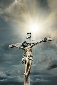 image of crucifixion  - Crucifixion of Jesus Christ with sky background - JPG