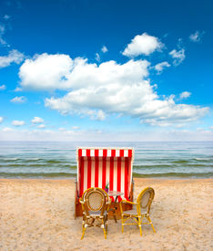 pic of sult  - lonely beach chair in cafe on the Baltic Sea - JPG