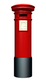 foto of mailbox  - 3D digital render of a red pillar mailbox isolated on white background - JPG