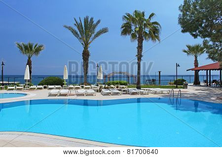 Swimming Pool Area Near Mediterranean Sea In Antalya, Turkey