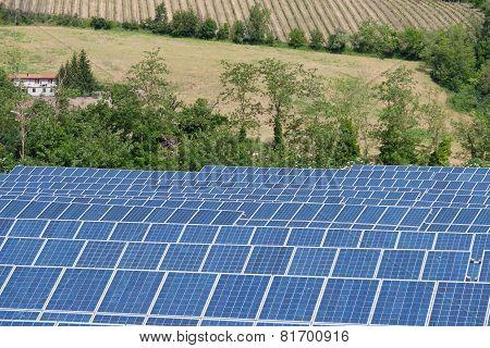 Blue Solar Energy Panels