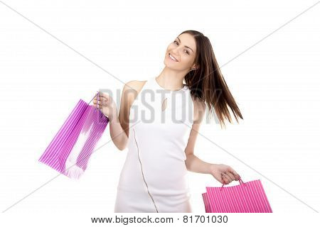 Happy Shopping, Smiling Female With Colorful Shopping Bags
