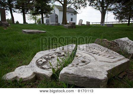Cracked Cemetery Gravestone