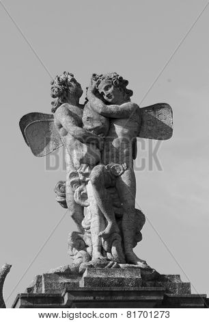Angels statue inside the Caserta Palace Royal Garden