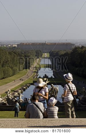 Caserta Palace Royal Garden with people