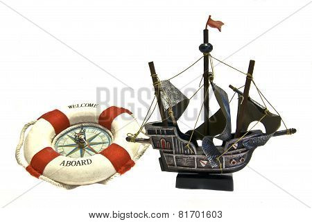 Souvenir Sailing Ship And Clock In Ring-buoy