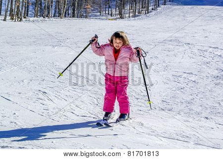 Three Year Old Girl Skiing For The First Time