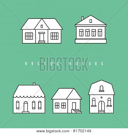 Houses set. Isolated elements for design.