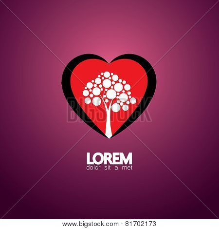 Heart And Tree Concept Of Living Healthy - Eco Vector Icon