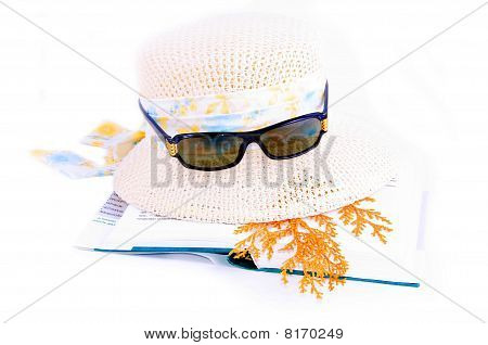 Hat Book And Sunglasses Collage