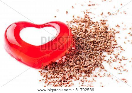 jelly heart shaped chocolate crumbs