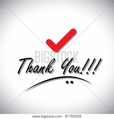 Thank You Handwritten Words Vector With Check Mark Icon