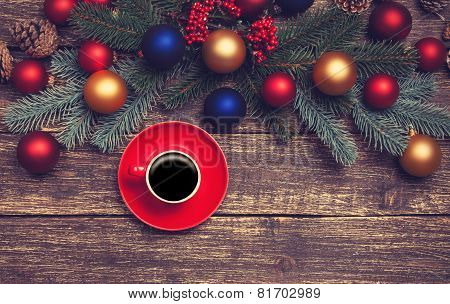 Hot Coffee On A Table Near Pine Branches With Chritmas Balls