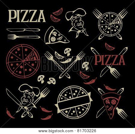 Set of pizza icons and design elements.