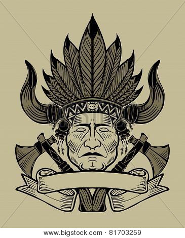 Illustration of an Indian chief with tomahawks