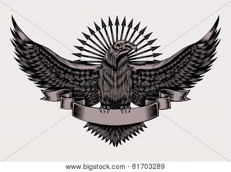 Illustration of emblem with eagle.