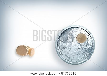 Glass Of Water With Effervescent Tablet Top View