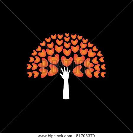 Tree Of Love Hearts And Hand In Support - Concept Vector Icon