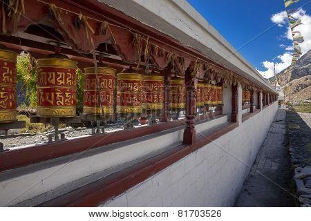 Colorful Tibetan Prayer Wheels