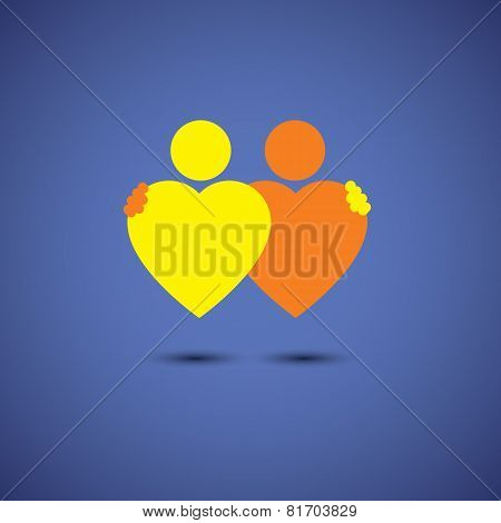 Friendship Hug, Couple In Deep Love Concept Vector Icon Of Hearts Together