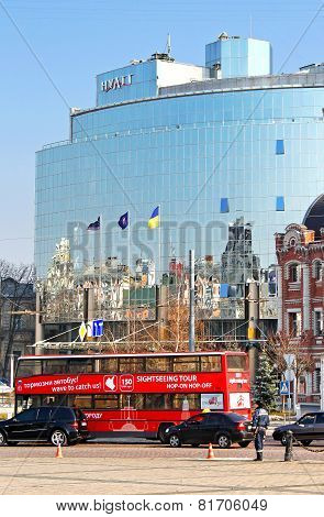 Kyiv Bus Touristic Near Hyatt Hotel. Open-top Double Decker Bus