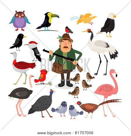 Fowling. Birds and Hunter vector illustration