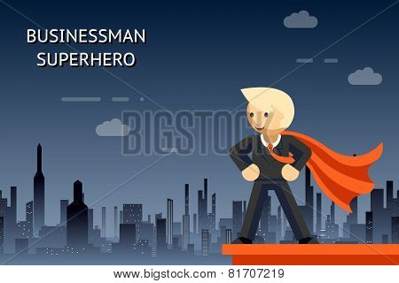 Businessman superhero over night city