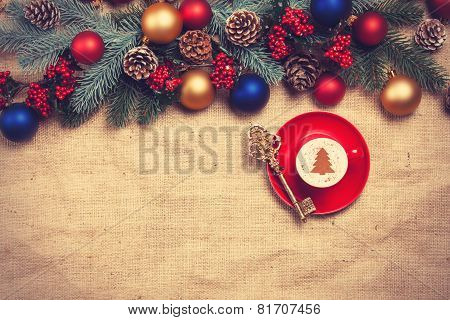 Hot Cappuccino With Christmas Tree Shape And Key