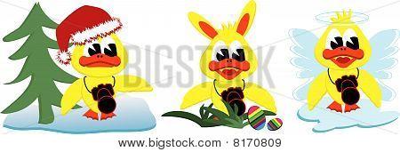 Xmas Easterbunny And Angel Ducks