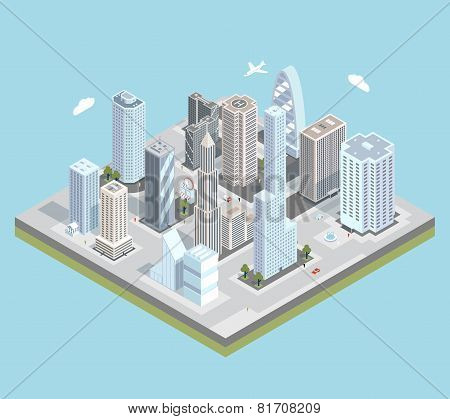 Vector isometric urban city center map with buildings, shops and roads