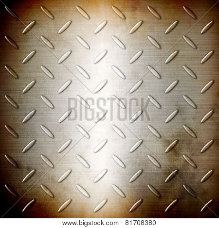 Rusty Steel Diamond Brushed Plate Background Texture