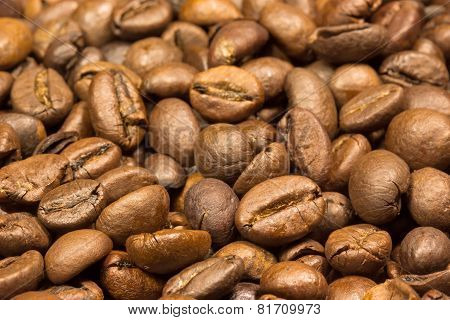 Coffee Beans Background. Closer View.