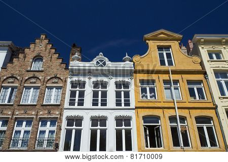 Historic Houses In The Center Of Bruges (belgium)