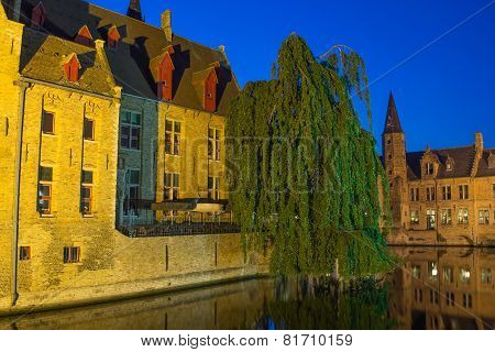 Night View Of The Old Town Of Bruges