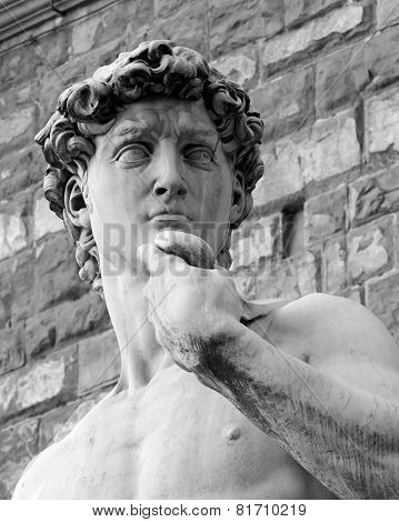 Closeup Black And White David Sculpture In Florence