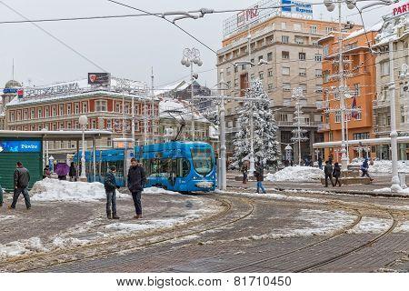 Zagreb snowy tram station