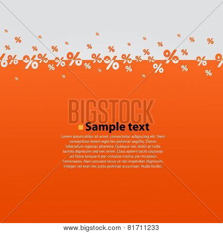 Creative abstract orange percent background.