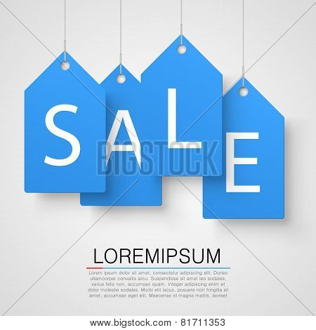 Four large blue tags with the word sale. Vector