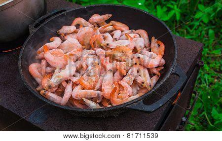 Cooking Frozen Shrimp In  Frying Pan