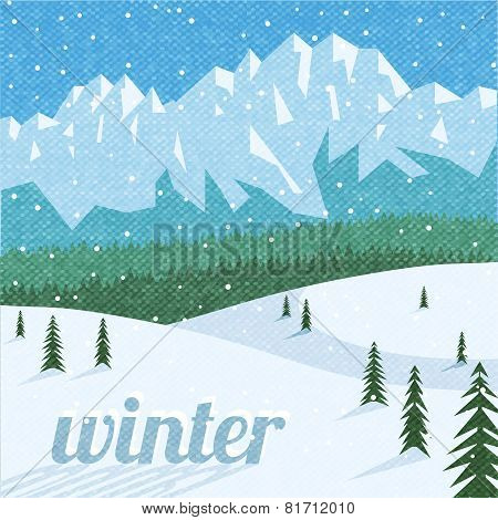 Winter landscape tourism background