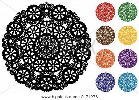 Snowflake Lace Doilies, 9 Jeweltone Colors