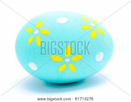 Painted Turquoise Easter Egg Isolated