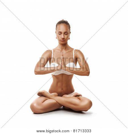 Healthy latino woman doing yoga