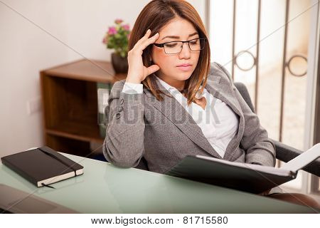 Business Woman Busy At Work