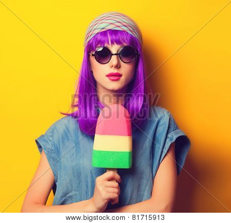 Beautiful Girl With Violet Hair In Sunglasses And Ice-cream On Yellow Background.