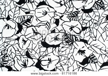 Grafic floral pattern on fabric.