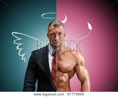 Attractive man in a business suit and without it on blue-pink background